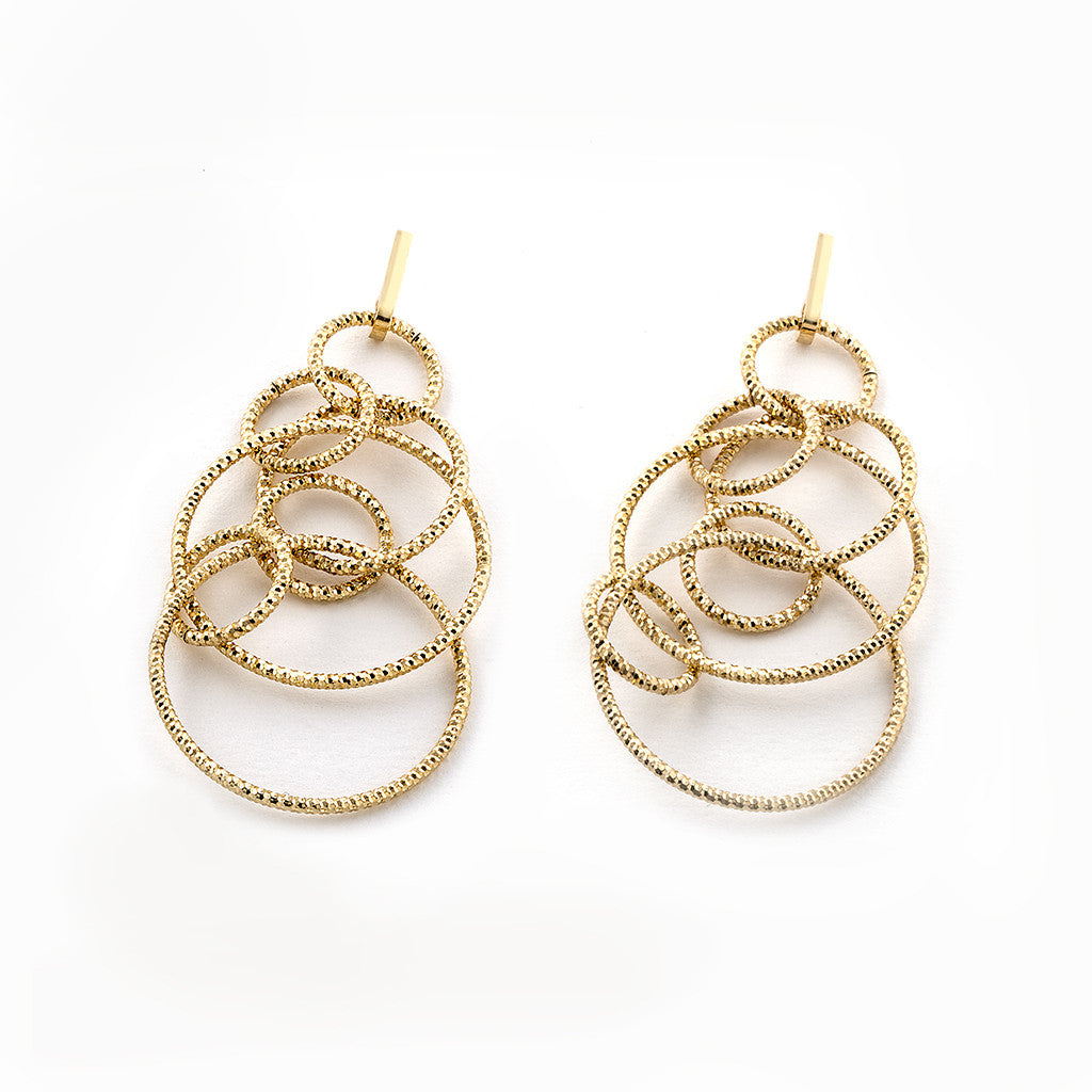 22k Gold Plated Sterling Silver Circle Drop Earrings