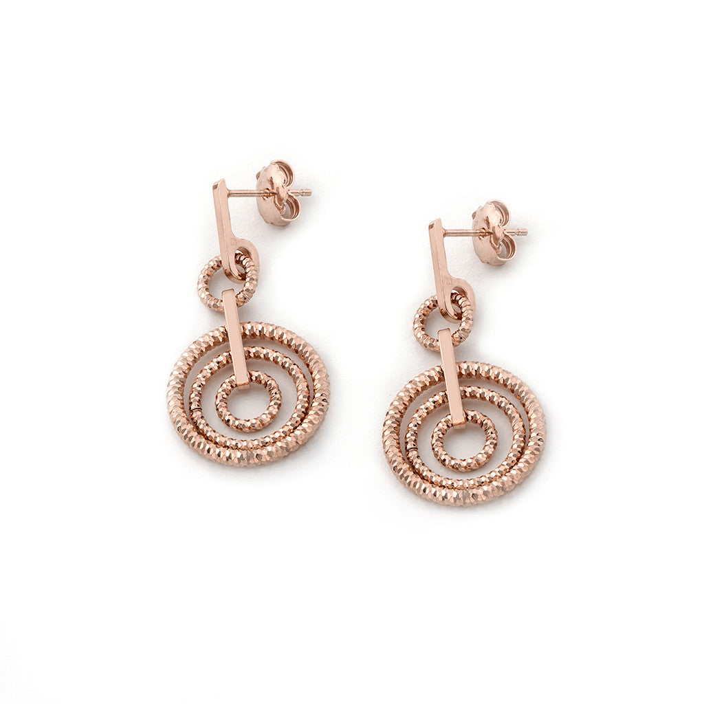.925 Silver 22k Rose Gold Plated Circle Drop Earrings