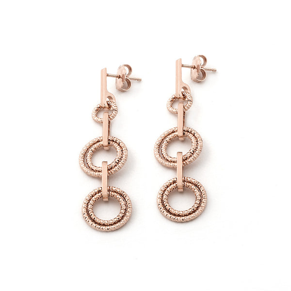 .925 Silver 22k Rose Gold Plated Three Circle Drop Earrings