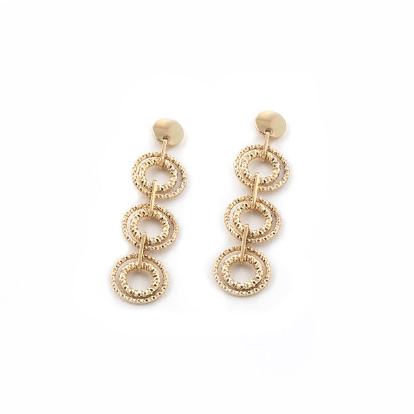 .925 Silver 22k Gold Plated Three Circle Drop Earrings