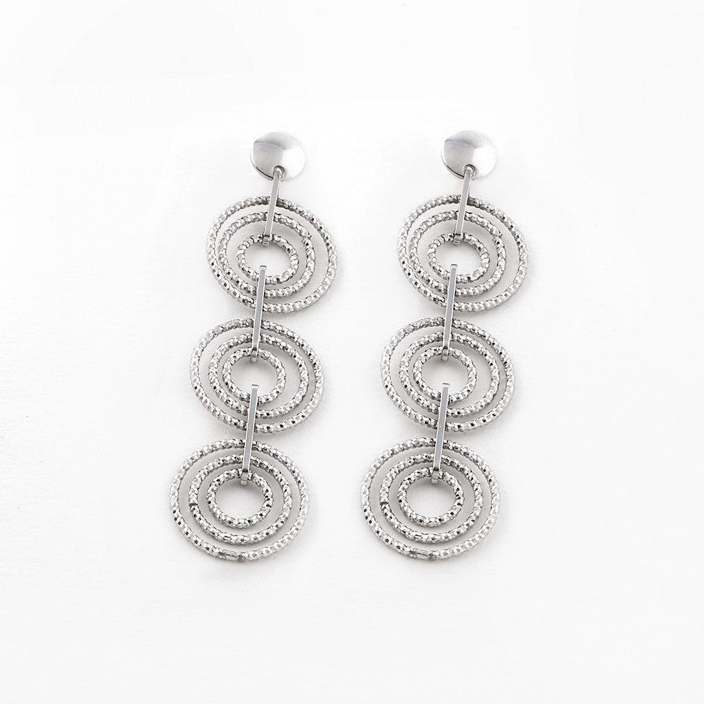 .925 Silver Circle Drop Pierced Earrings