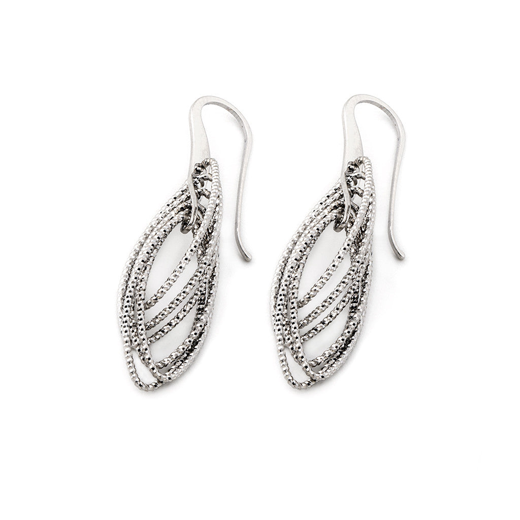 .925 Silver Oval Drop Eurowire Earrings