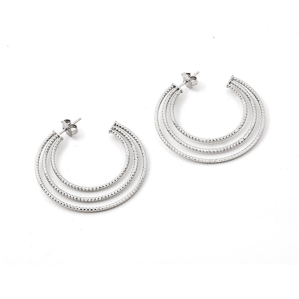 .925 Silver Multi Hoop Earrings
