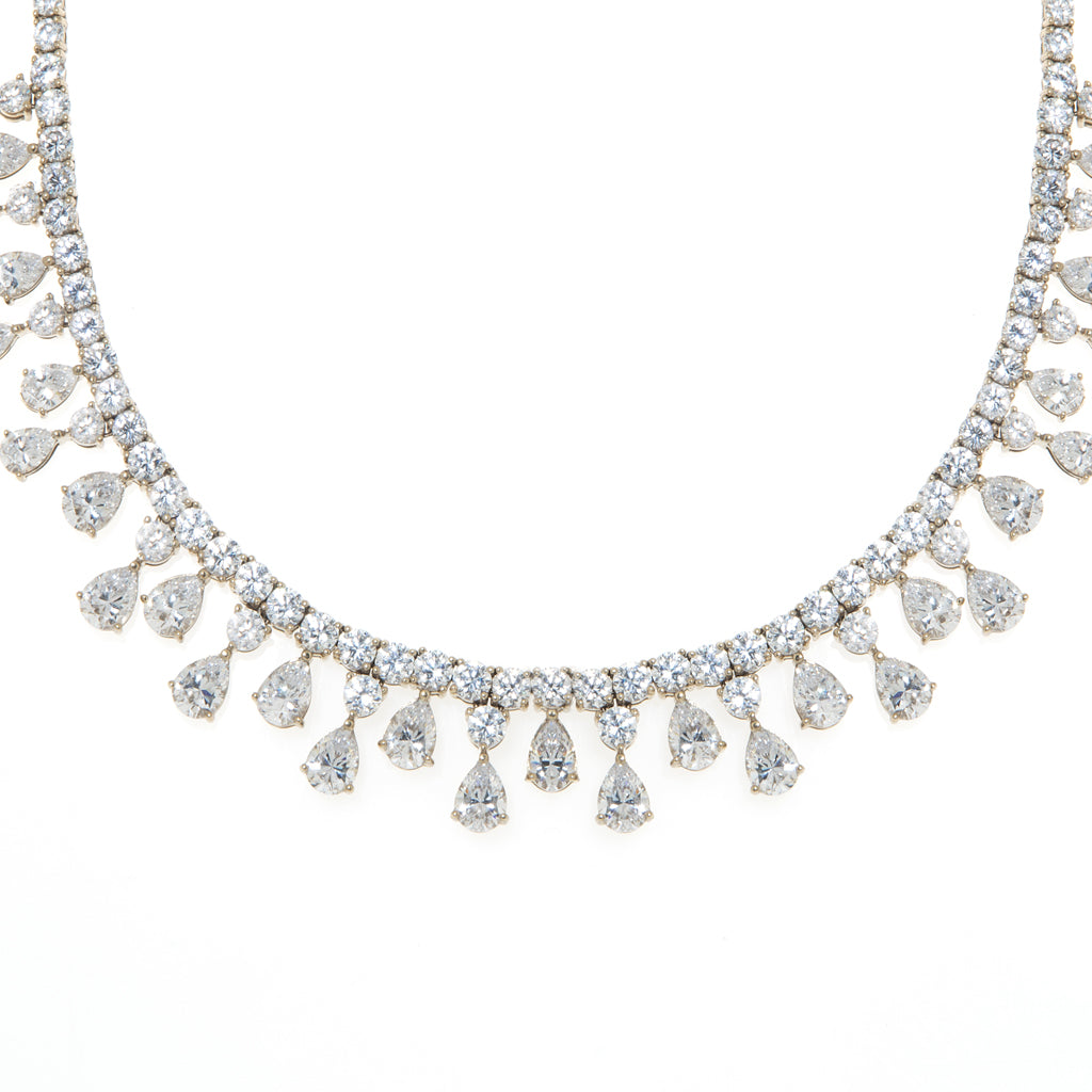 14K White Gold Necklace With Teardrop Stones 16""