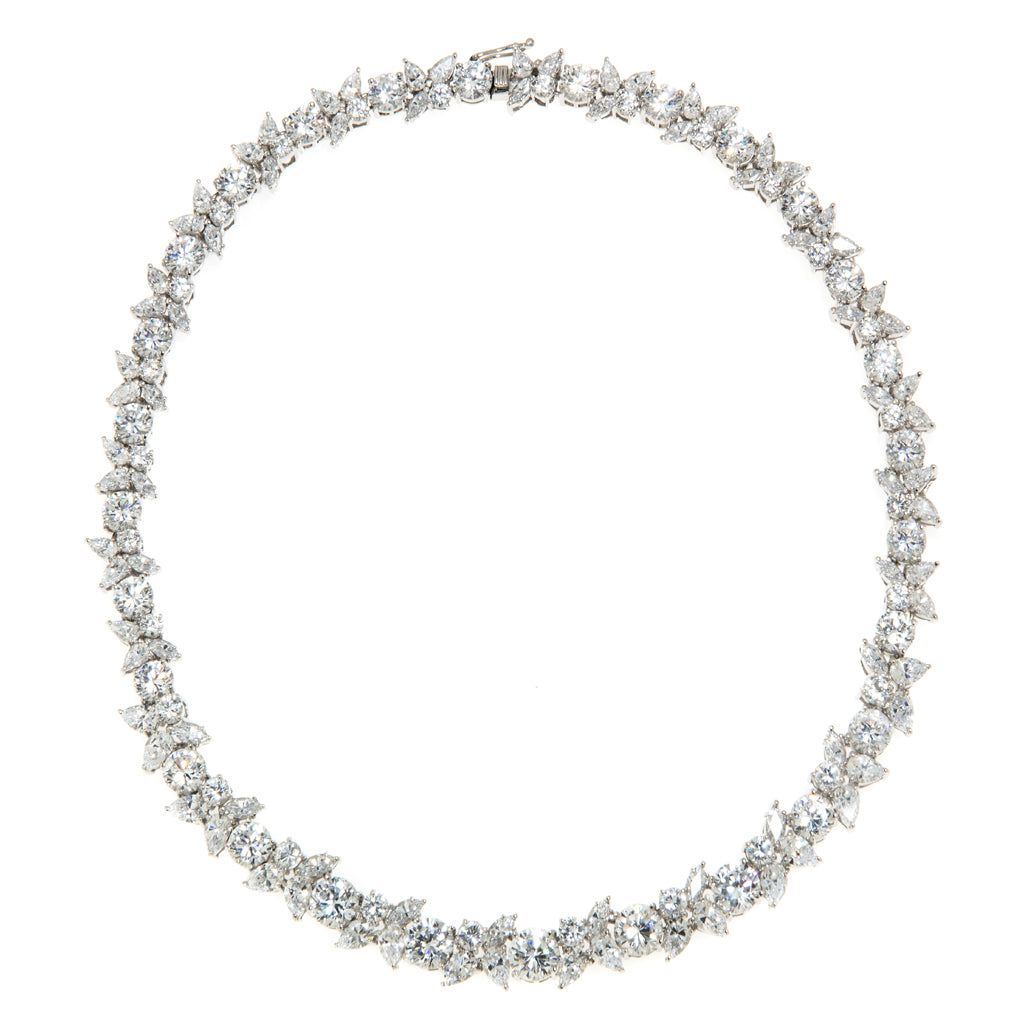 55 Carat Sterling Silver Pear and Round CZ Necklace  16""