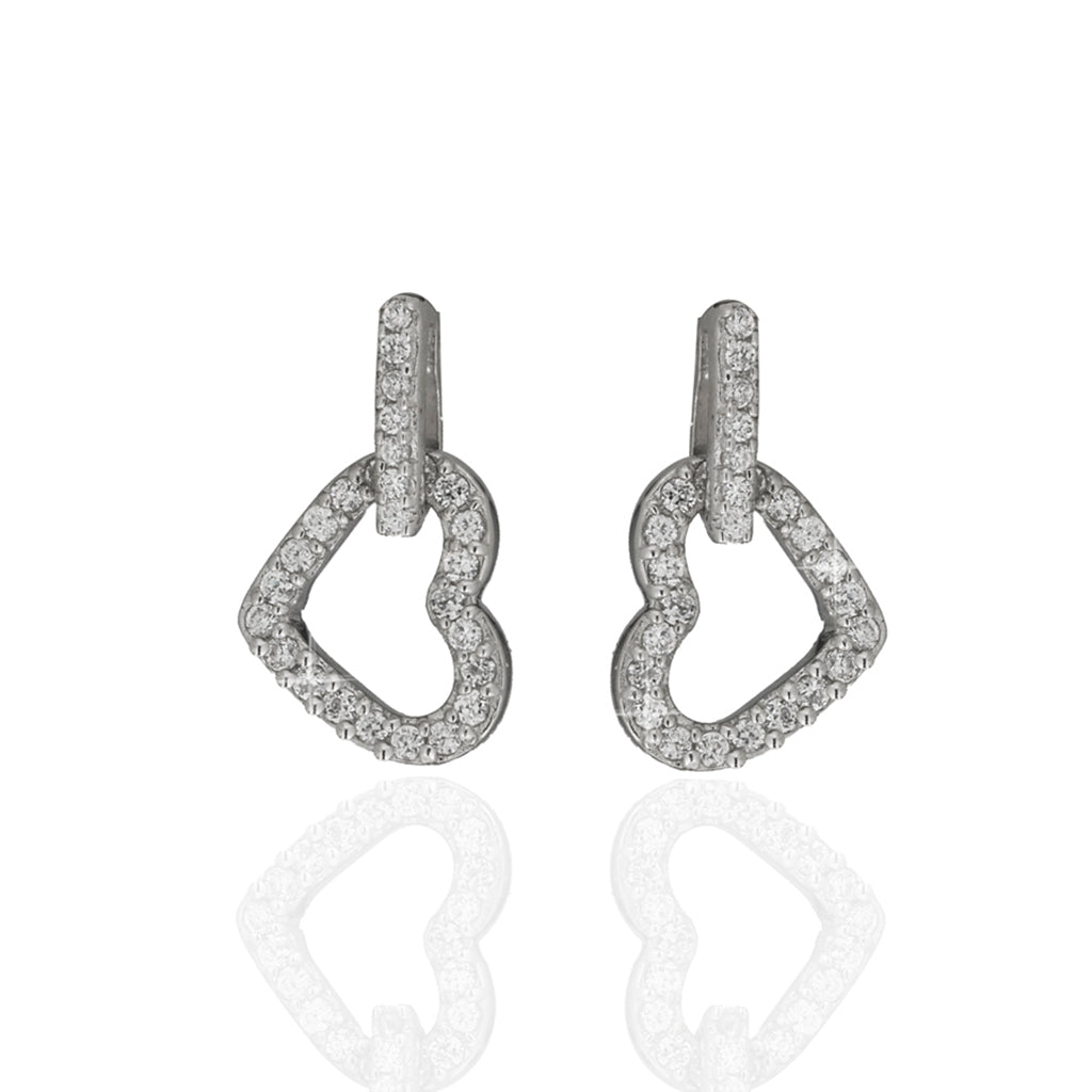 14K White Gold /CZ Heart Drop Earrings