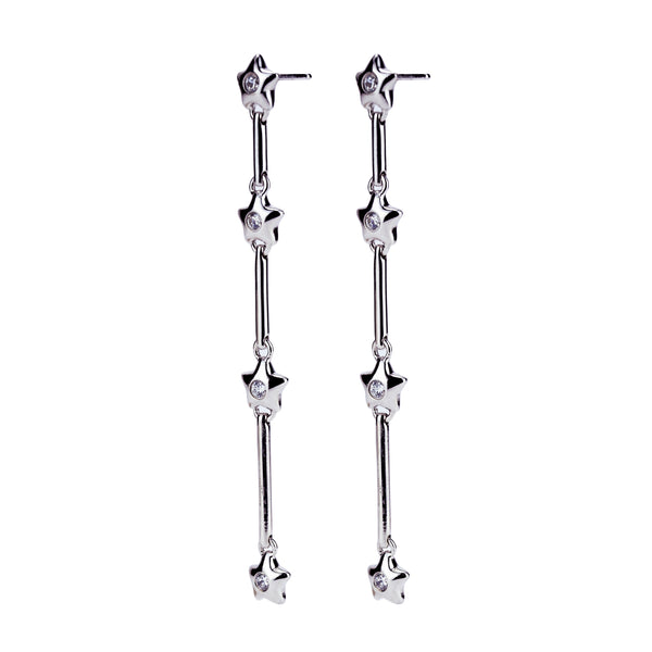 Sterling Silver CZ Star Bar Drop Earrings