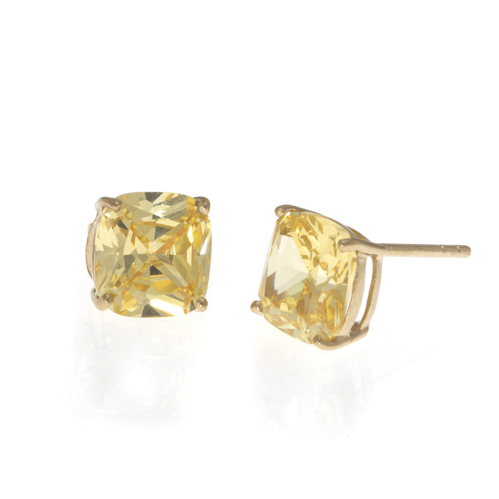 New 22k Gold plated Sterling Silver CZ Cushion Cut Earrings 4.6 CT