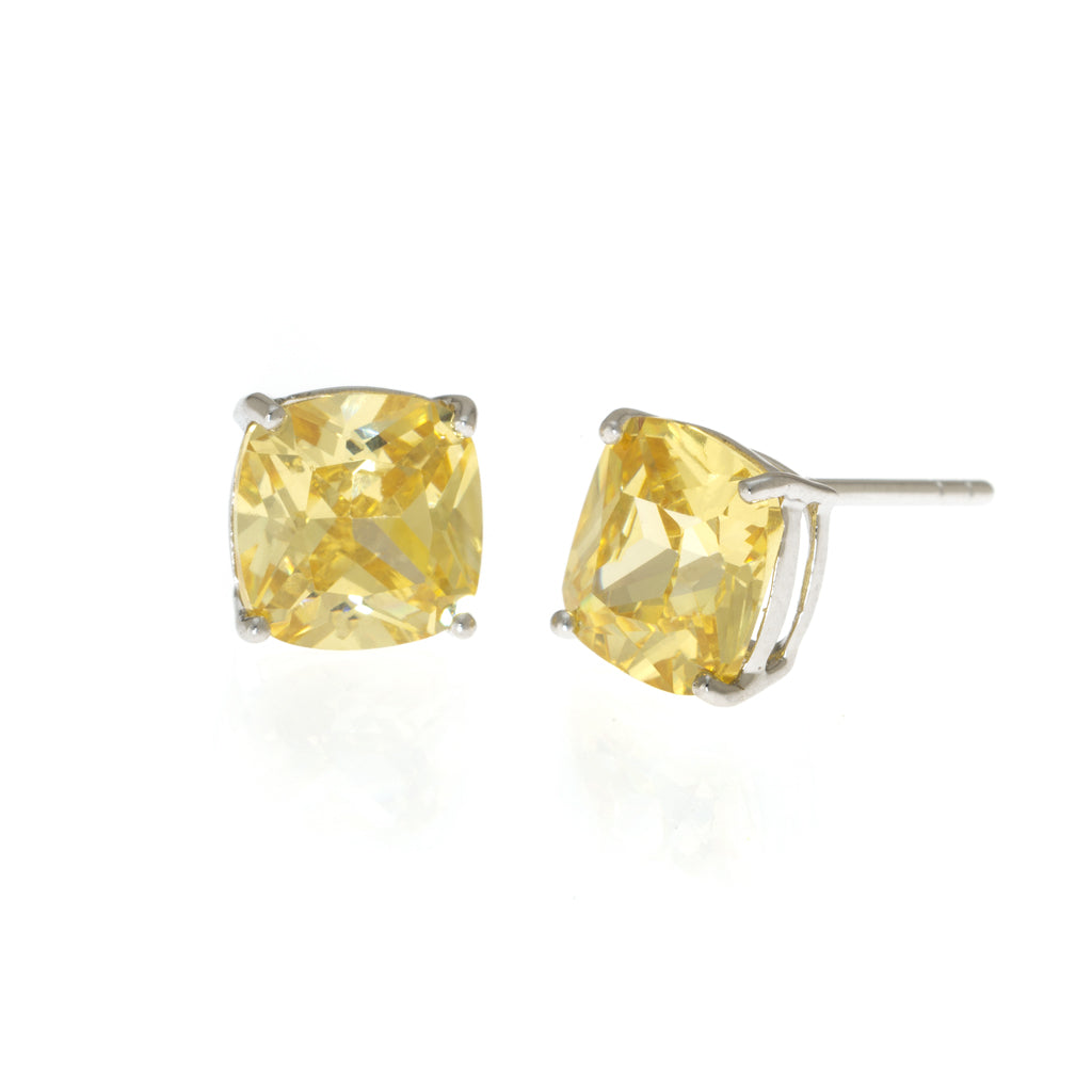New Sterling Silver CZ Cushion Cut Canary Earrings 4.6 CT