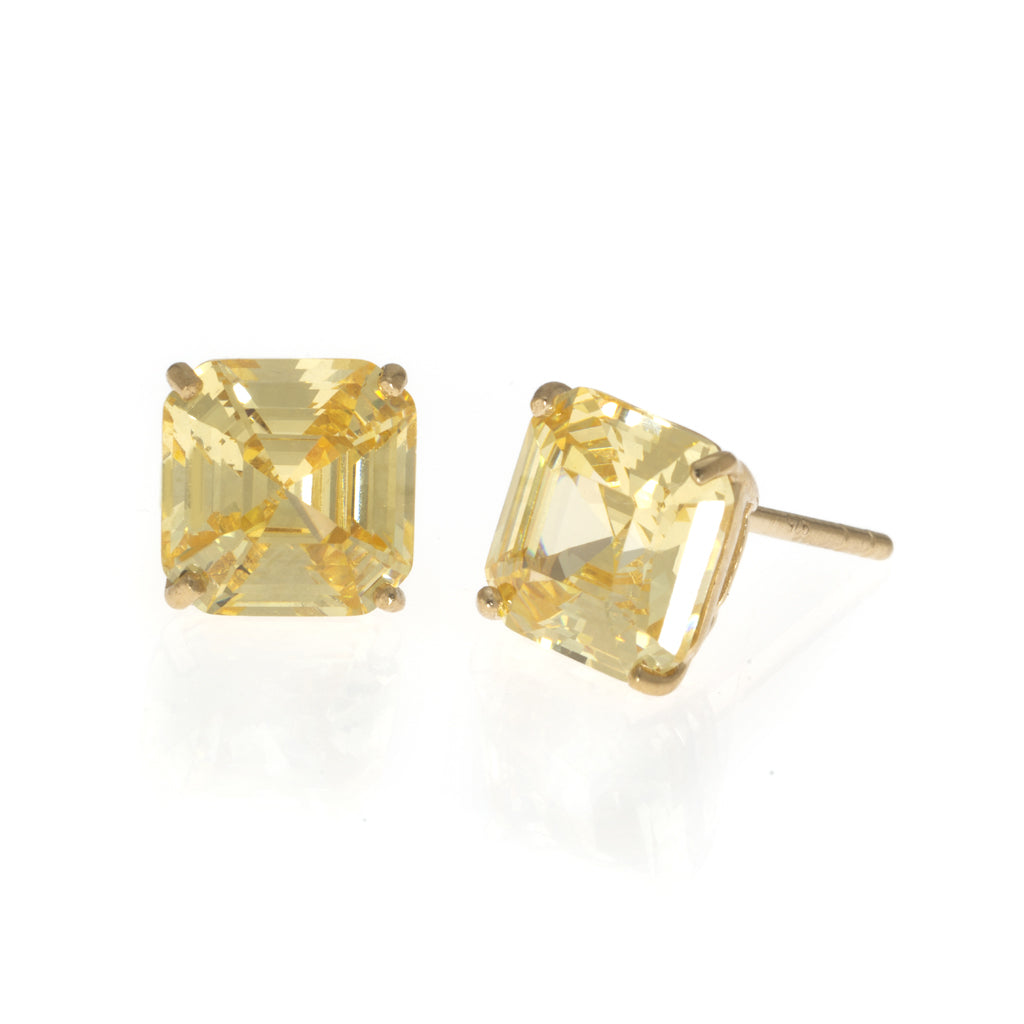 NEW 22k Gold Plated Sterling Silver Asscher Cut CZ Earrings
