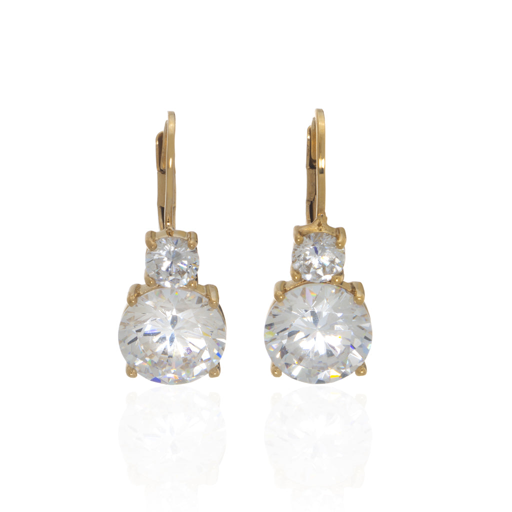 NEW 22k Gold Plated Sterling Silver CZ Leverback Earring