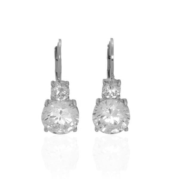NEW Rhodium Plated Sterling Silver CZ Leverback Earring