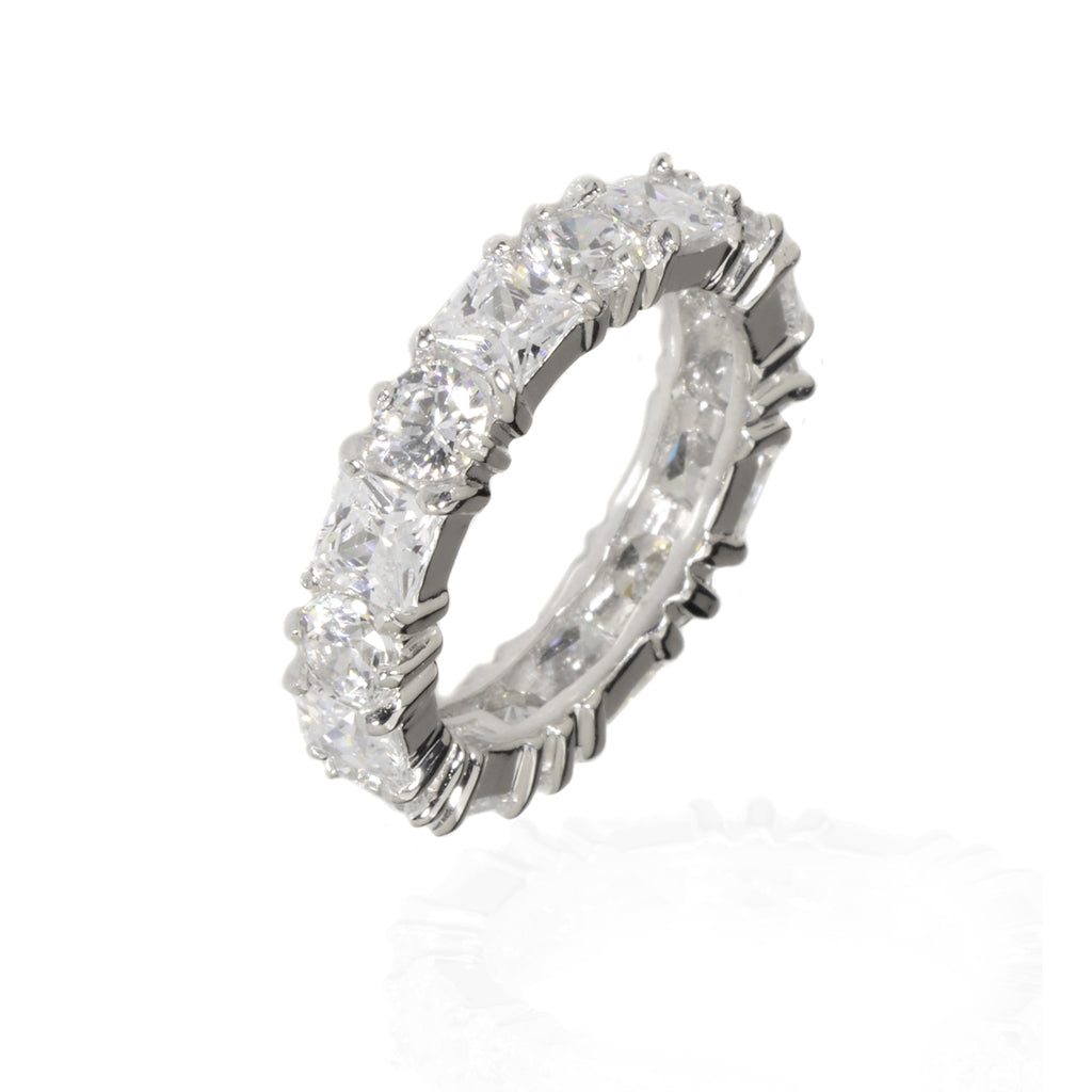 NEW 7.5 Carat CZ Round & Princess Sterling Silver Eternity Band