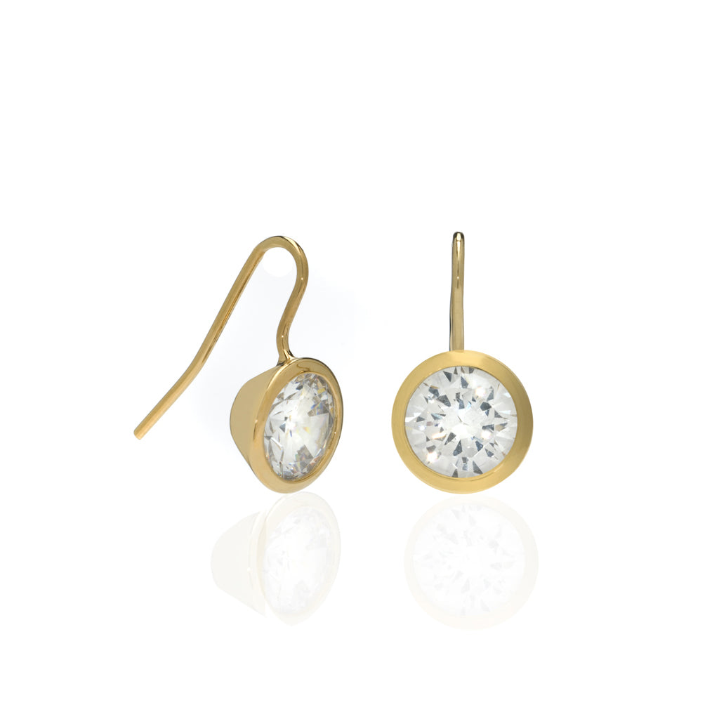 4 Carat CZ Gold Plated Sterling Silver Bezel Set Earrings