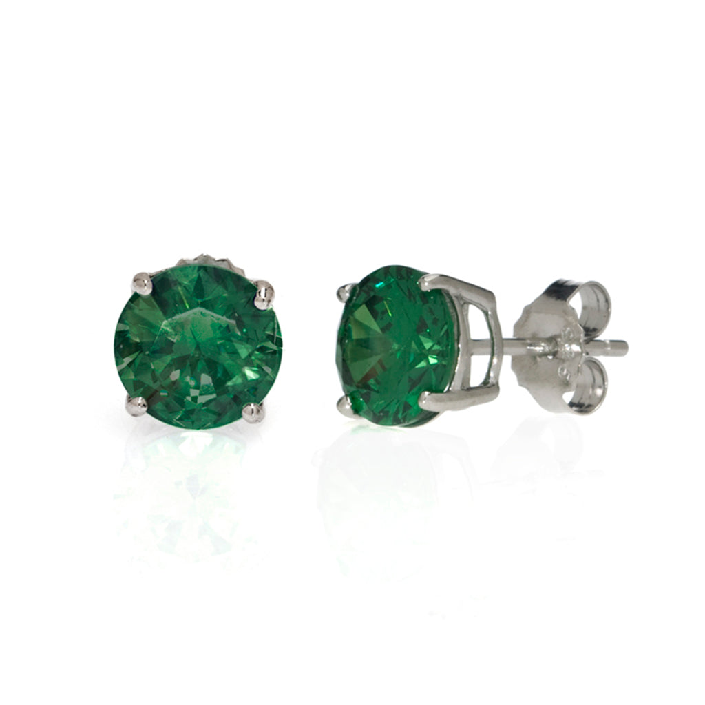 Sterling Silver Emerald 4 CT Stud Earrings