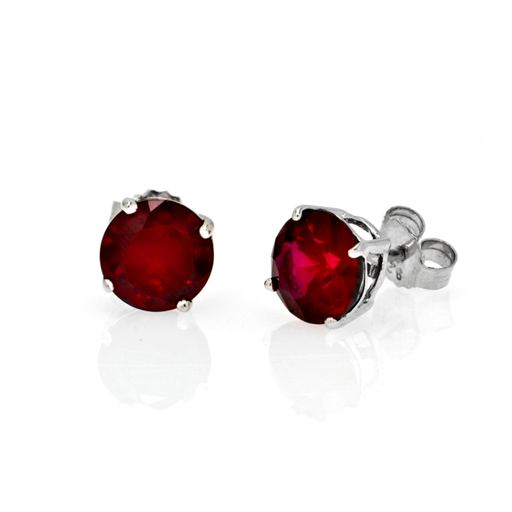 Sterling Silver CZ Ruby 4 CT Stud Earrings