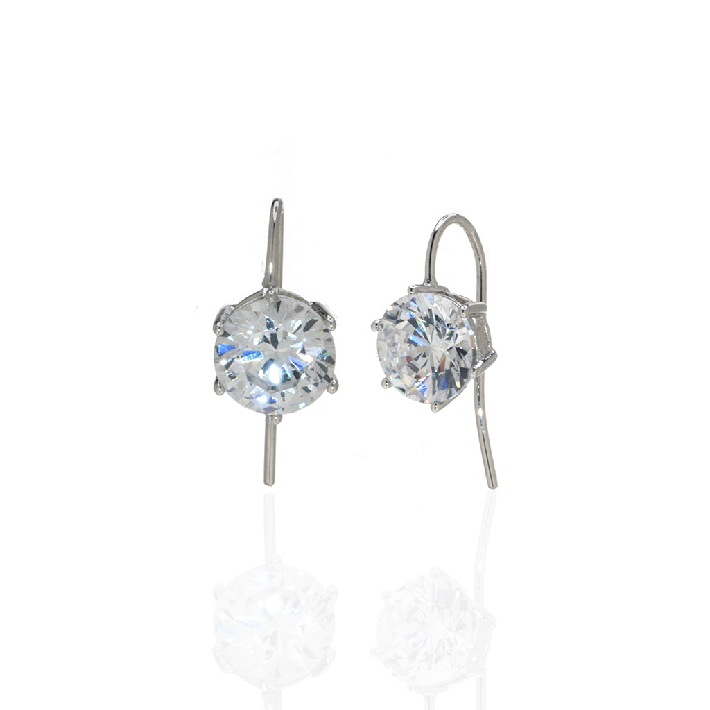 4 Carat Round CZ Sterling Silver Eurowire Earrings