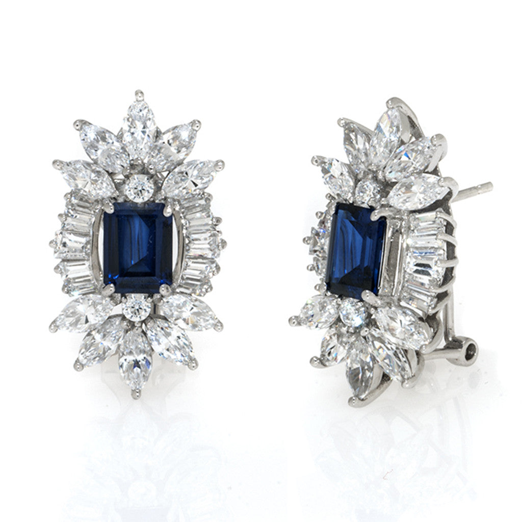 Sterling Silver Sapphire CZ Pierced Earrings