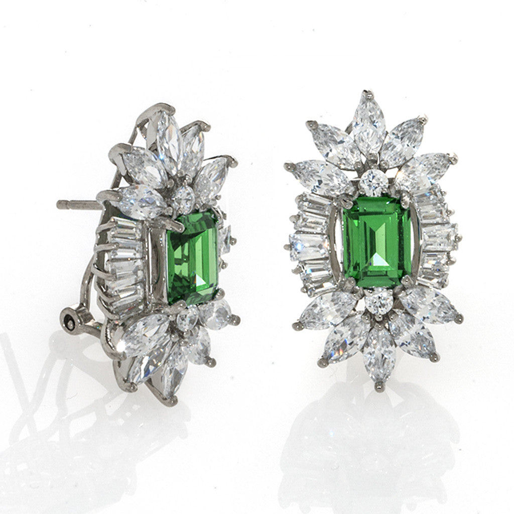 Sterling Silver Emerald CZ Pierced Earrings