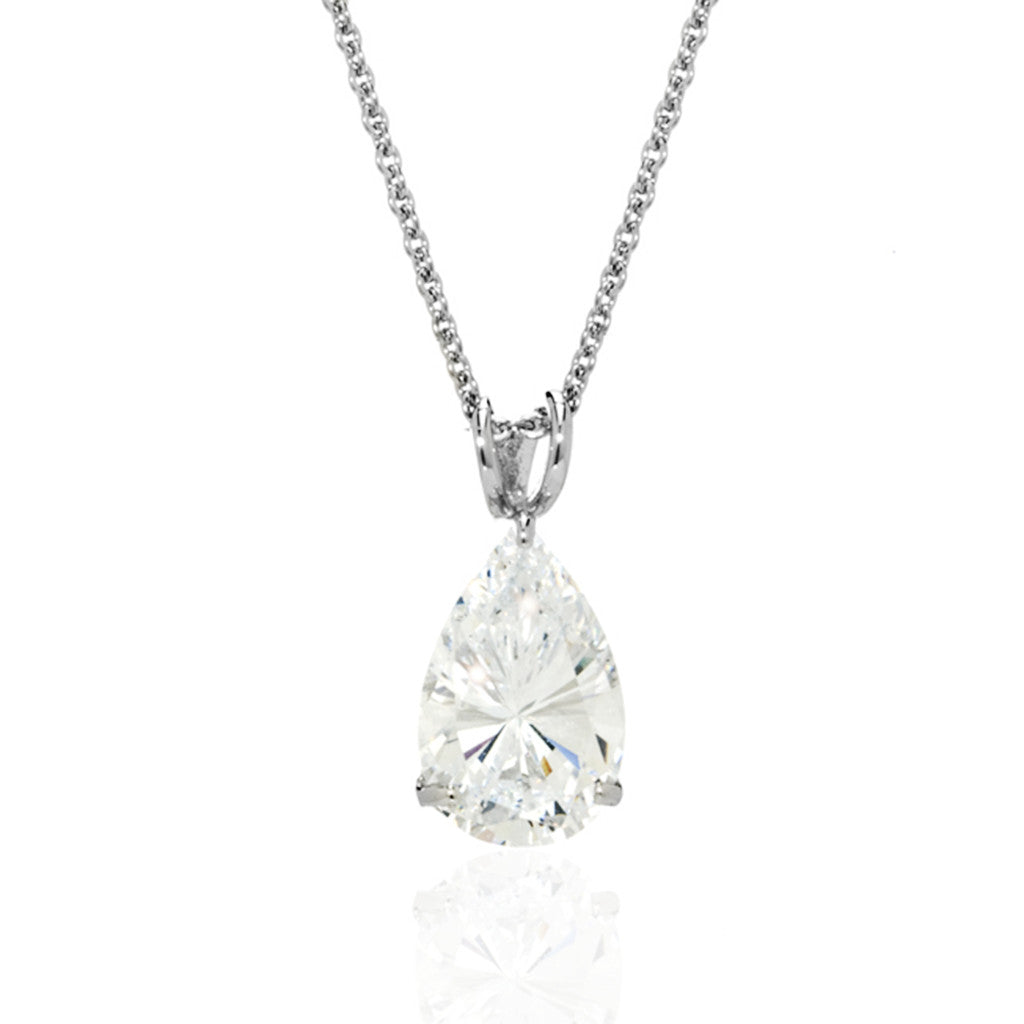 Sterling Silver CZ Pear Pendant Necklace