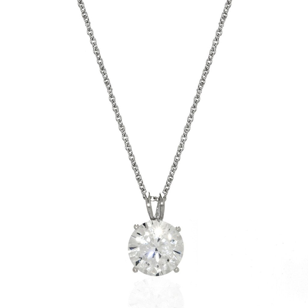 14k White Gold Round Cut CZ Pendant 16""