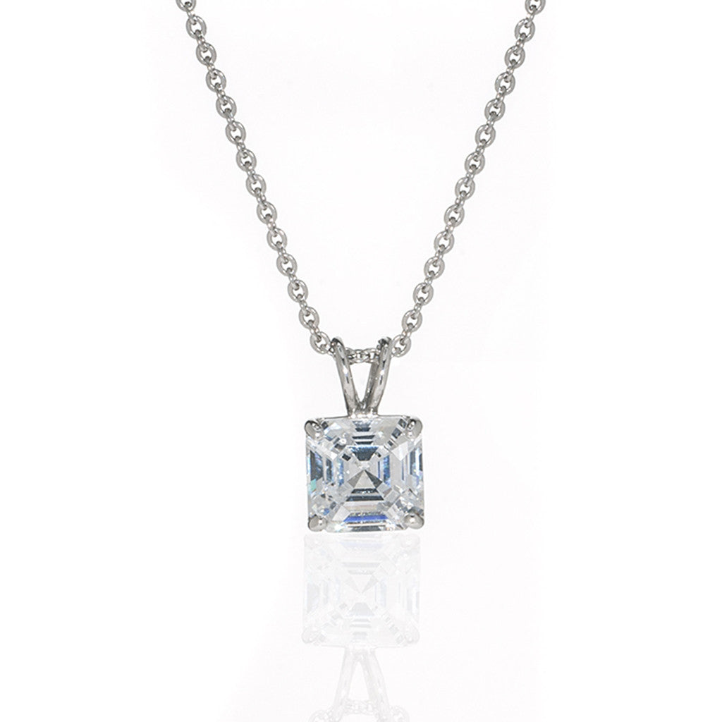 Sterling Silver and CZ Asscher Cut Necklace 2 CT