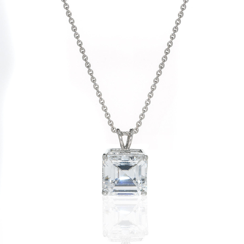 Sterling Silver & Cubic Zirconia Asscher Cut Necklace 4 CT
