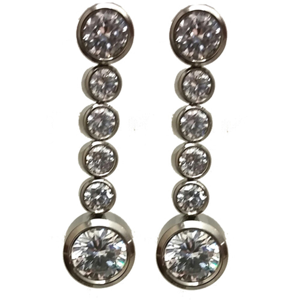 Titanium Cubic Zirconia Bezel Earrings