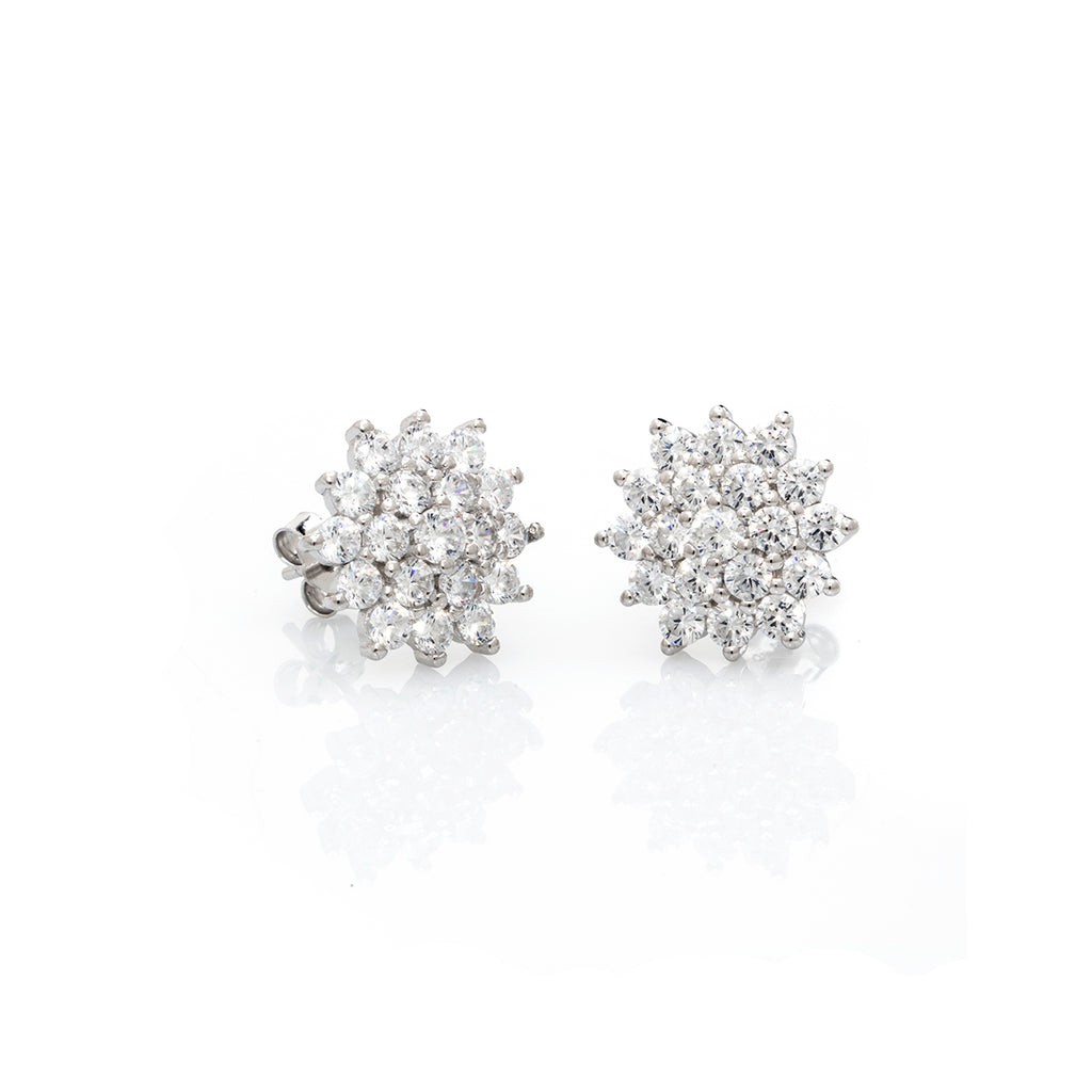 Sterling Silver CZ Cluster Earrings