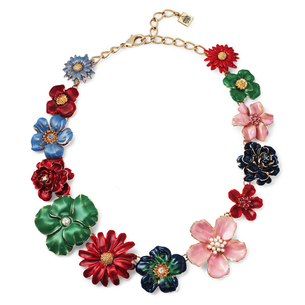 Garden Multi Flower Necklace w Austrian Crystals 16""