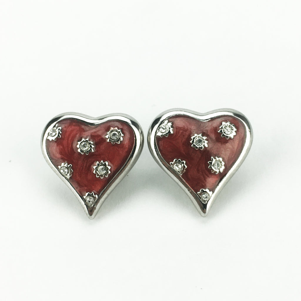 Silvertone Red Enamel Heart Pierced