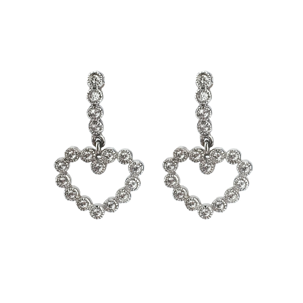 14k White Gold CZ Heart Drop Earrings
