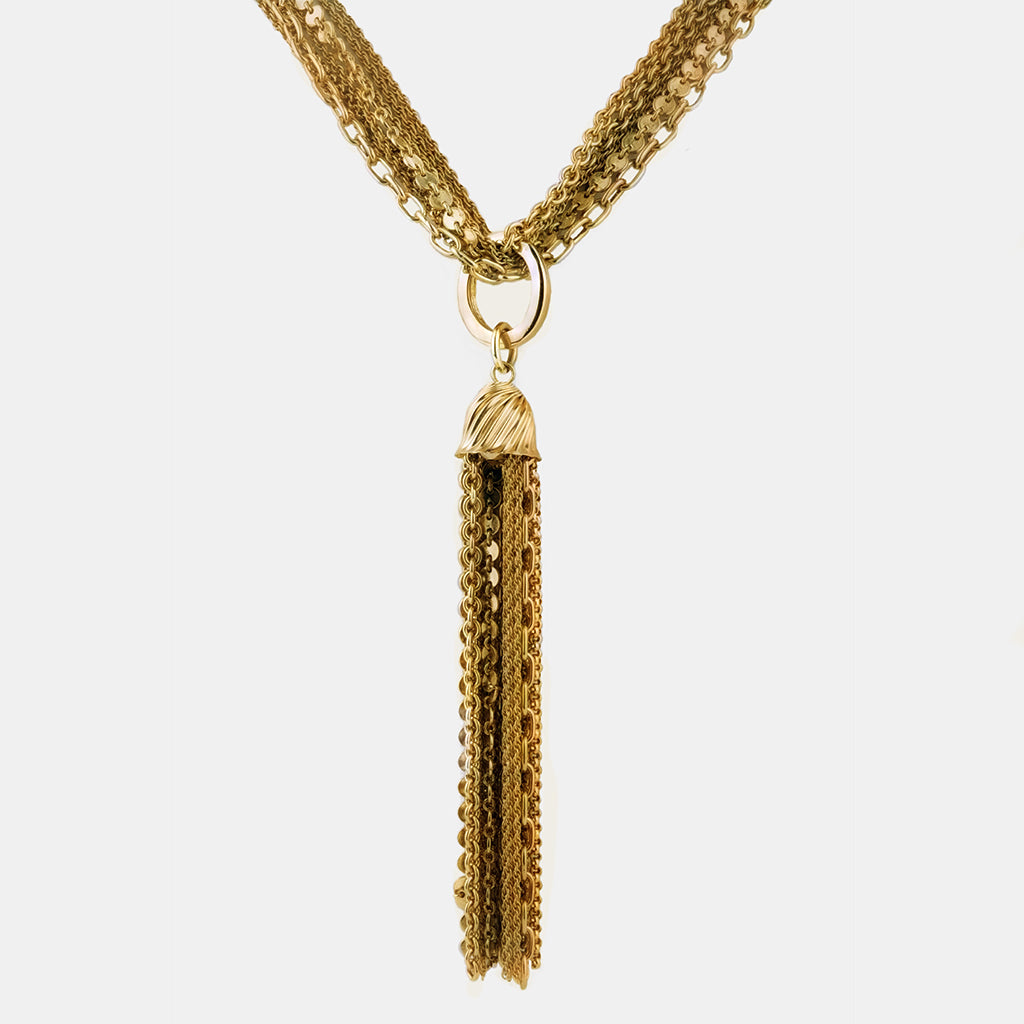 Multi Chain Tassel  Necklace 36""