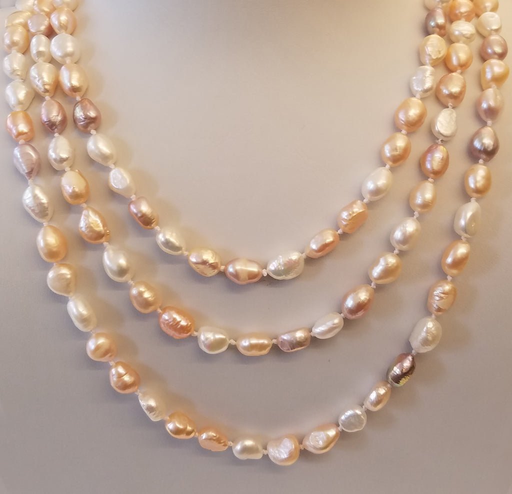 "64"" White/ Peach/ Lavender Fresh Water Pearl Necklace"