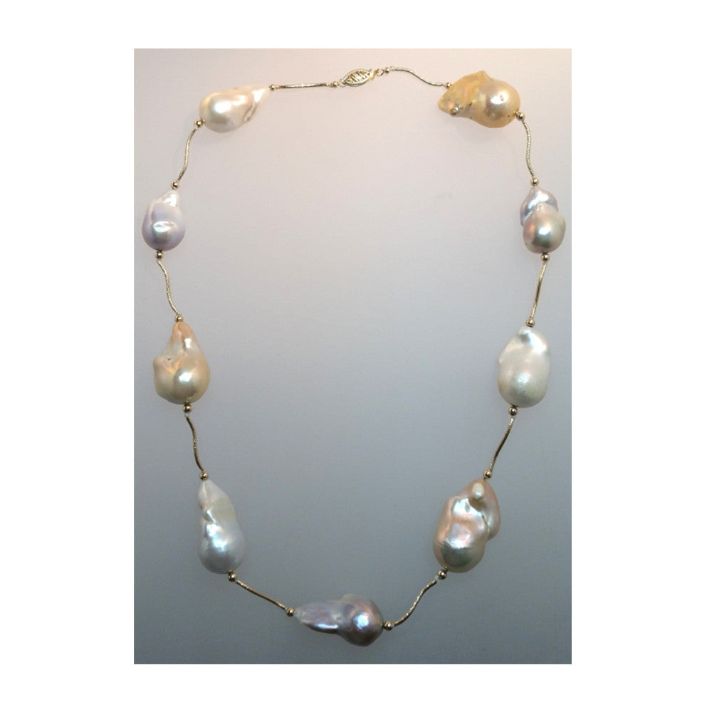 14k Gold Large Rare Baroque Cultured Pearl Necklace 18""