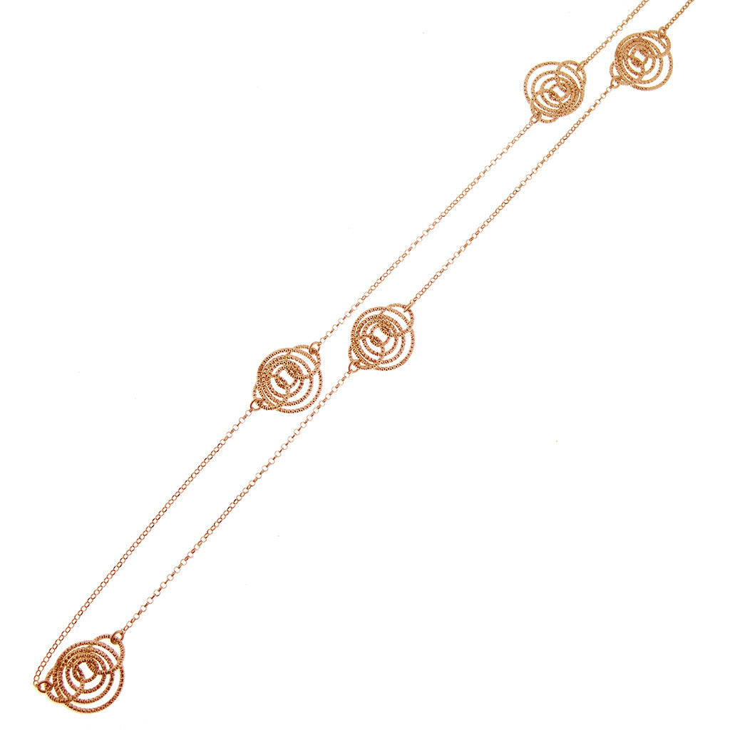 "22k Rose Gold Plated Sterling Silver 30"" Necklace"