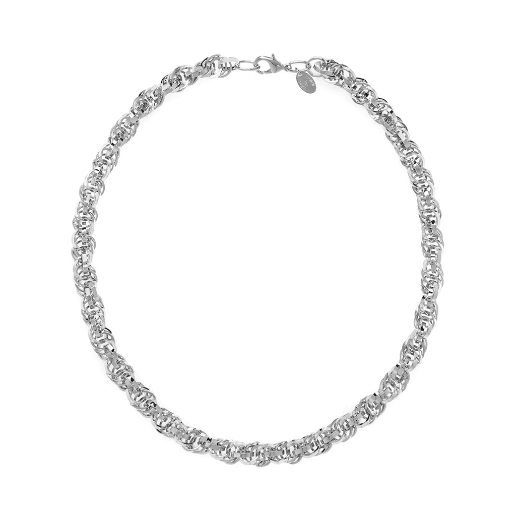 Rhodium Plated Multi Link Chain