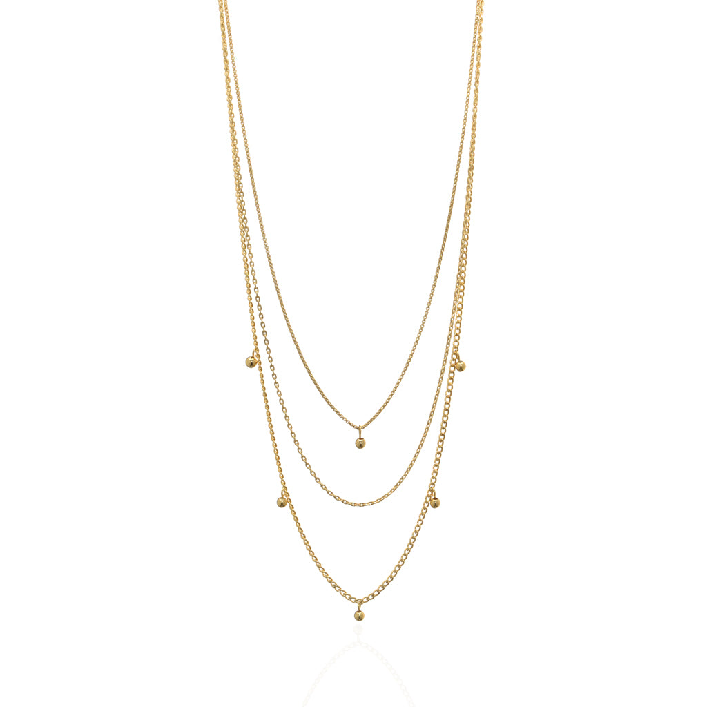 22k Gold Plated Sterling Silver Multi Chain 16""