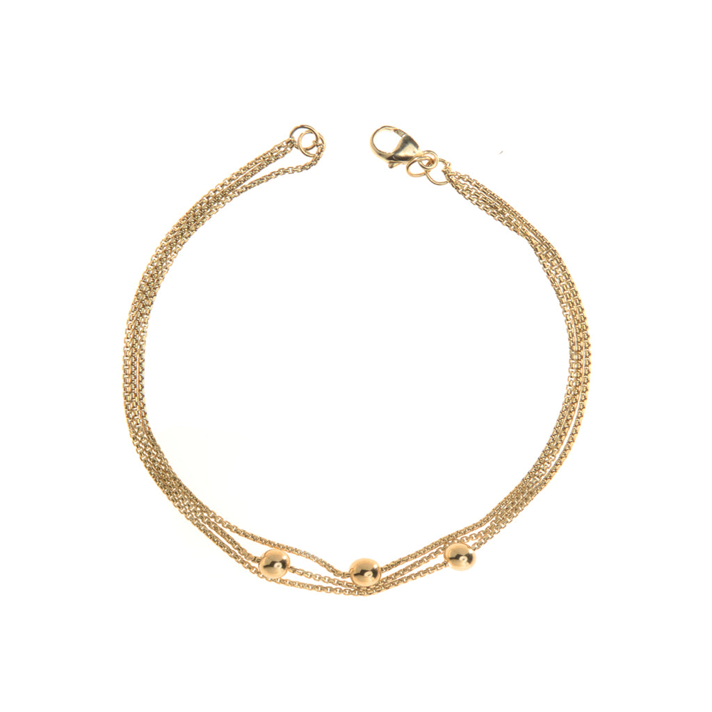 22k Gold Plated Sterling Silver  3 Chain Bracelet 7""