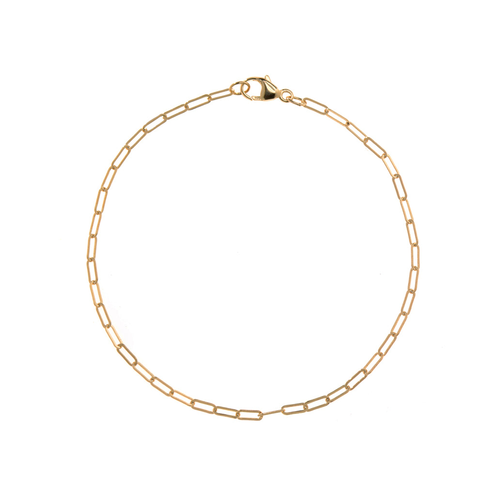 22k Gold Plated Sterling Silver  Chain Bracelet 7""
