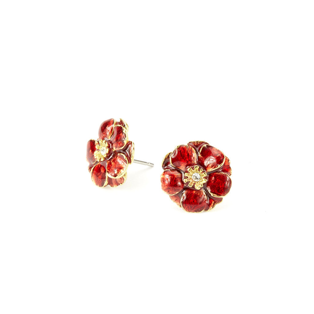 Double Rose Goldtone Small Red Pierced Earrings