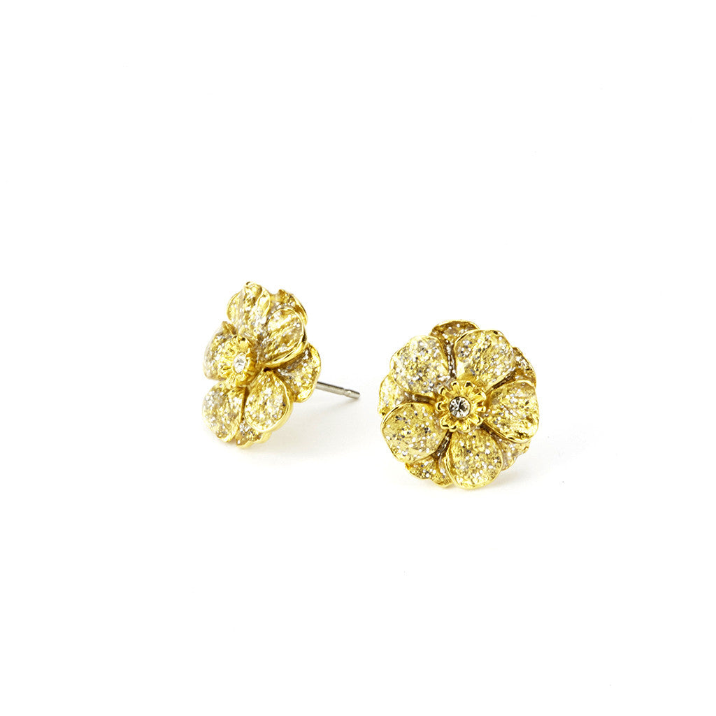 Double Rose Goldtone Stardust Pierced Earrings (Small)