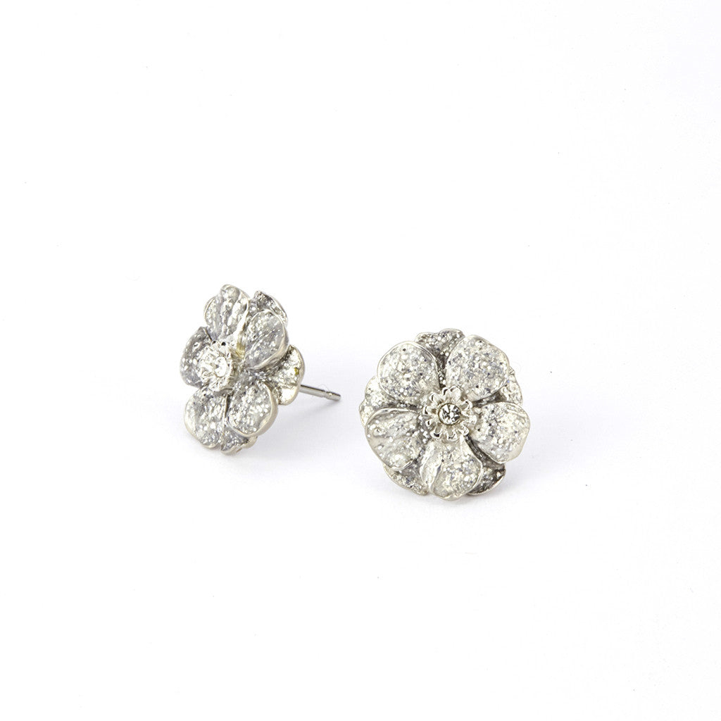 Double Rose Silver Tone Stardust Pierced Small Earrings