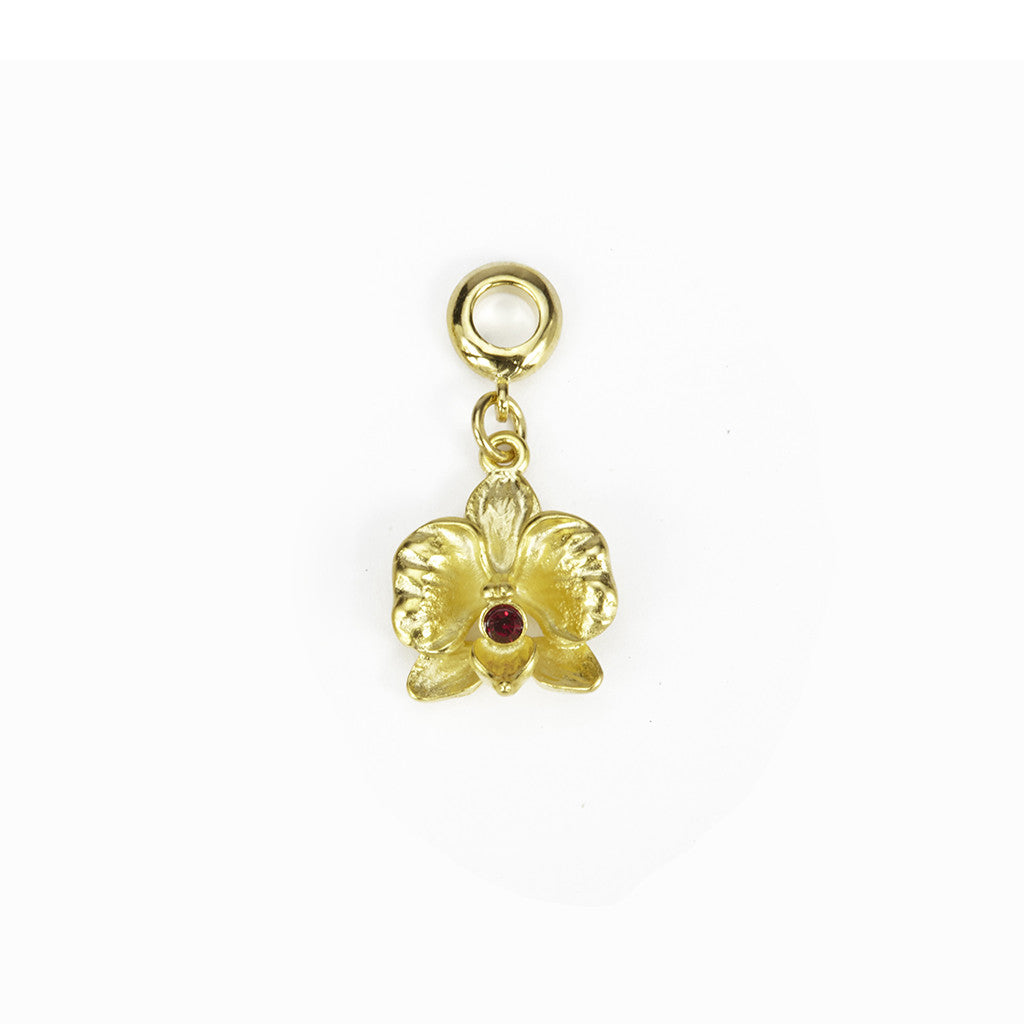 Orchid Goldtone Charm/ Red Crystal