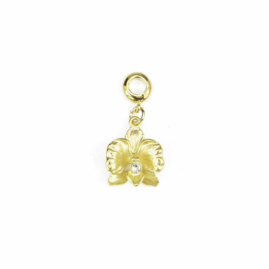Orchid Goldtone Charm/ Clear Crystal