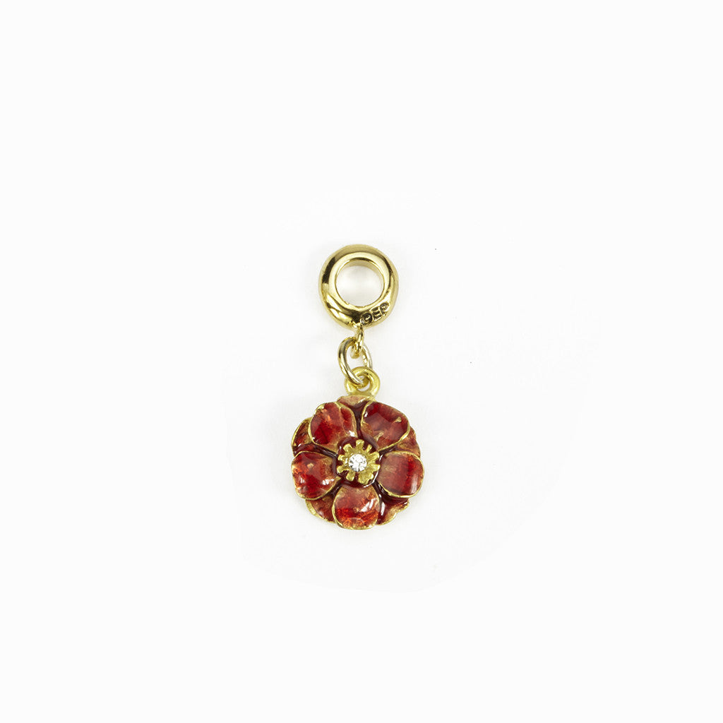 Double Rose Goldtone Red Enamel Charm