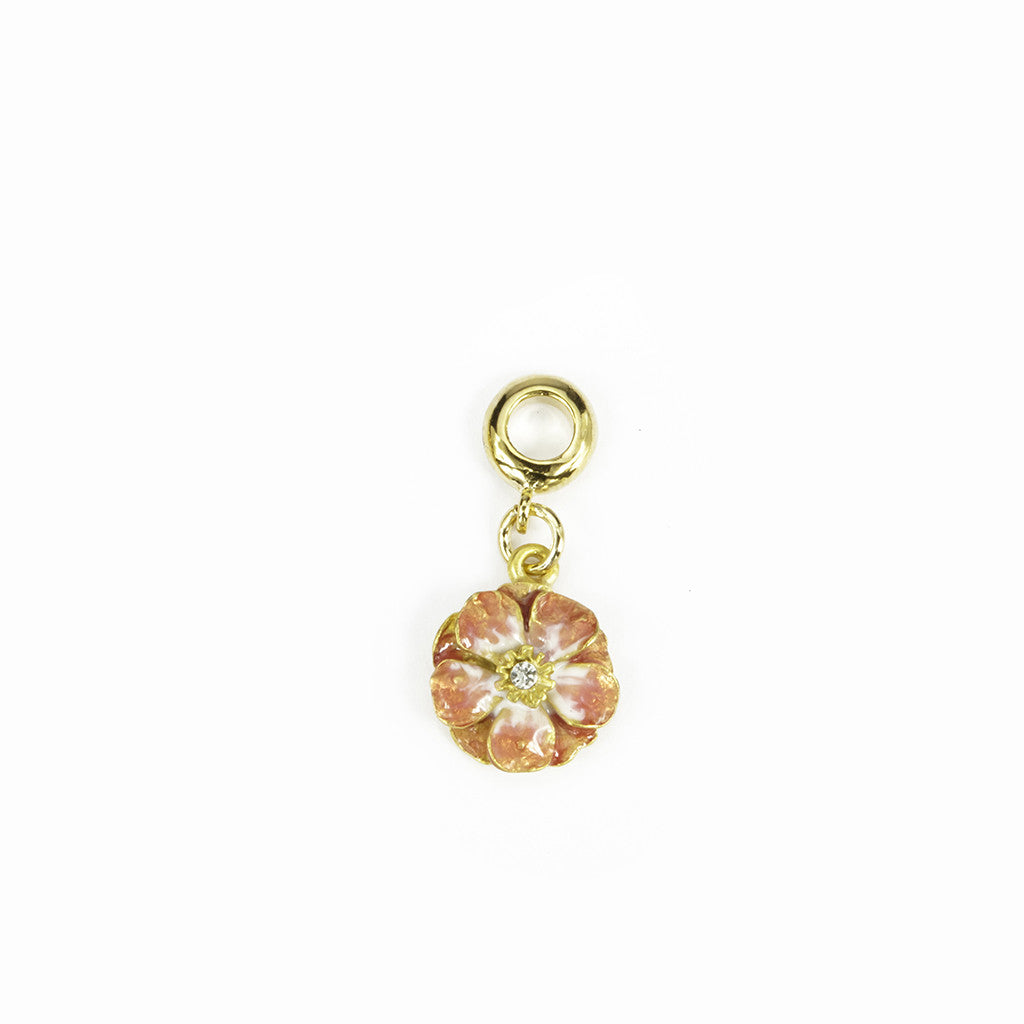 Double Rose Goldtone Melon Enamel Charm