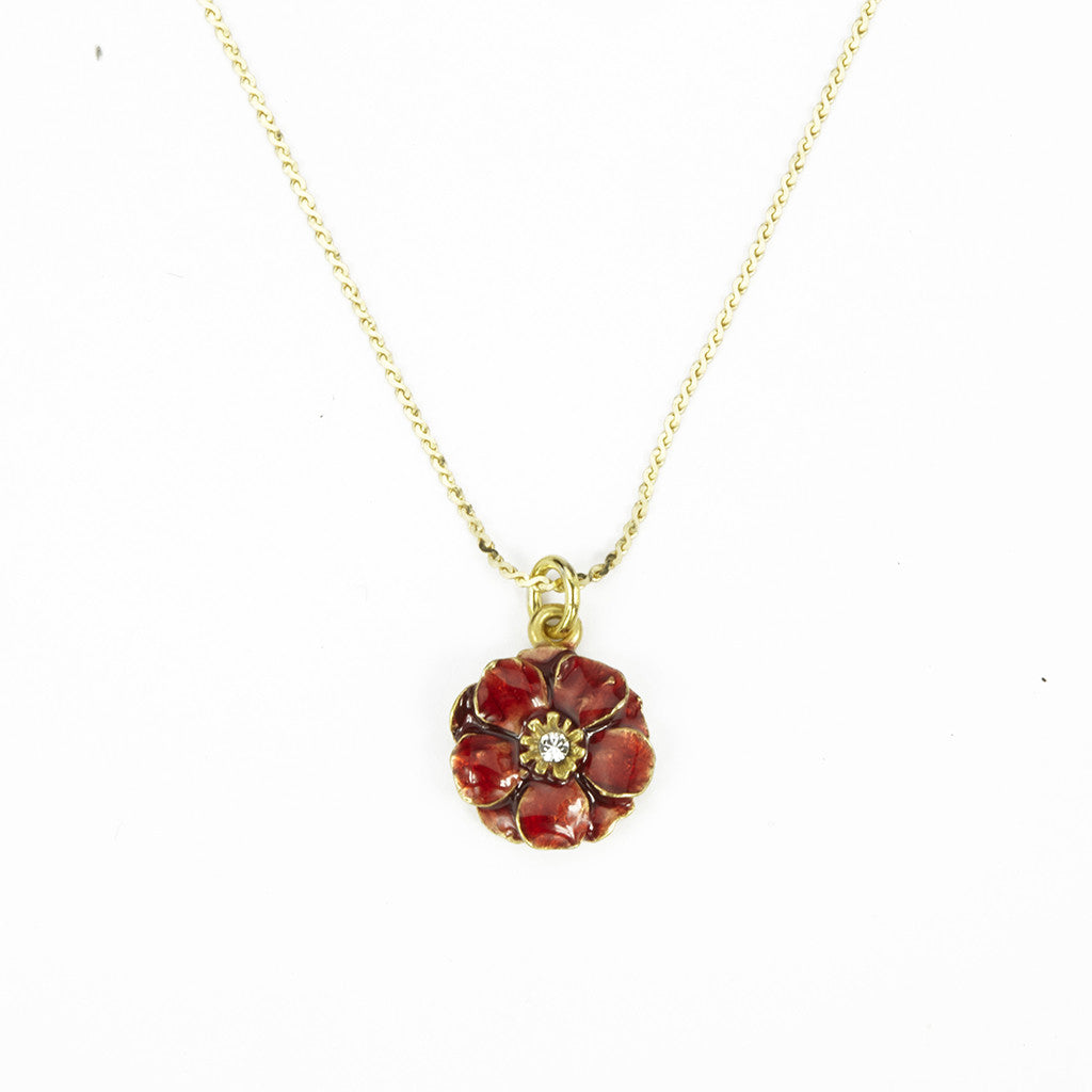 Double Rose 14kt Gold Chain with Small Red Pendant