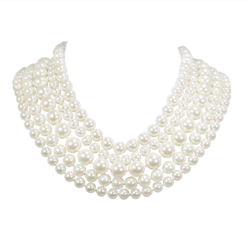 Silvertone Multi 5 Row Kiska Pearl Necklace
