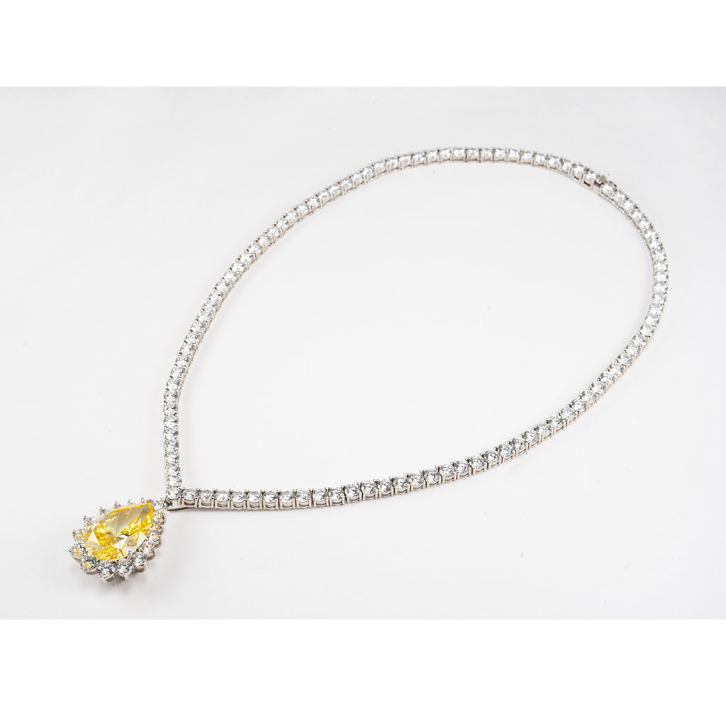 14k White Gold And CZ Canary Tear Drop Necklace 16""